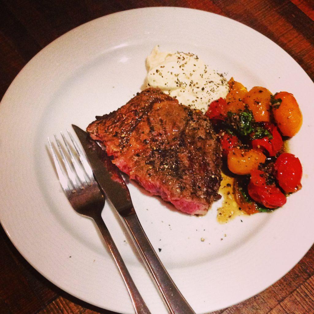 Medium/Rare sirloin steak with horseradish creme fraiche & tomato basil salsa