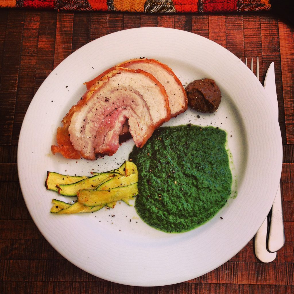 Pork Belly roast with crackling, spinach, marrows & mustard.
